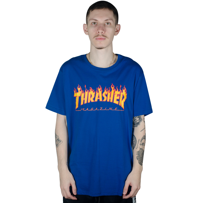 Camiseta Thrasher Flame Azul Royal