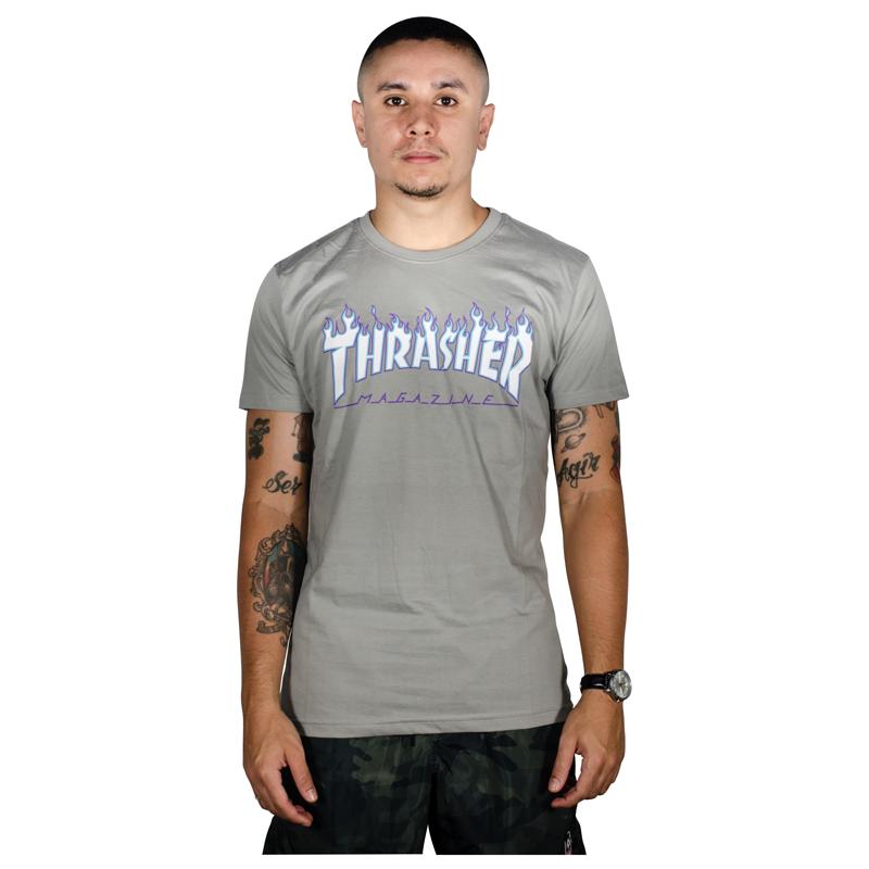Camiseta Thrasher Flame Logo Sky Cinza