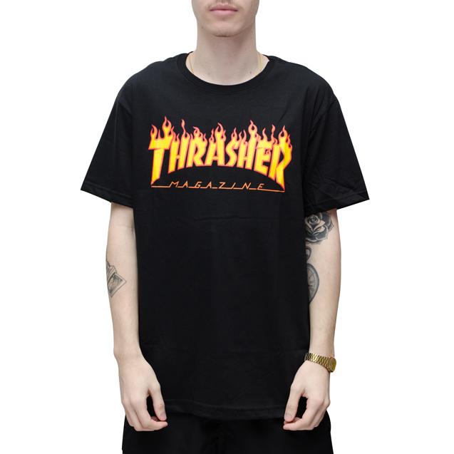 7ca447daa Camiseta Thrasher Flame Preta com logo de Fogo