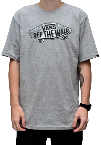 Camiseta Vans Logo Fillheather Mescla Cinza