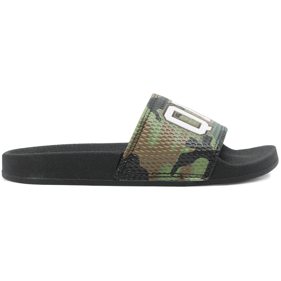 Chinelo Qix Slide Camo Preto/Verde