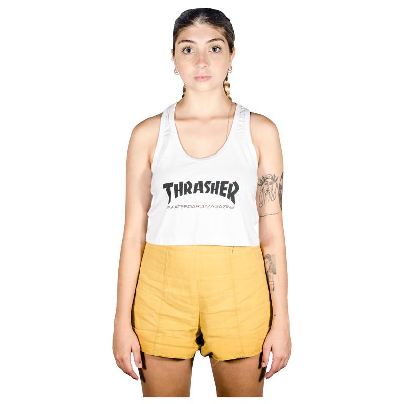 Cropped Regata Thrasher Skate Mag Branca