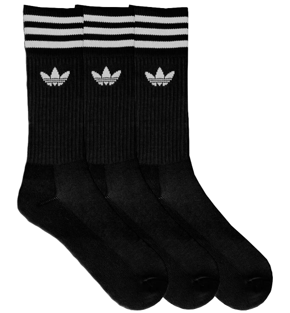Meia Cano Médio Adidas Preta (3 Pares)