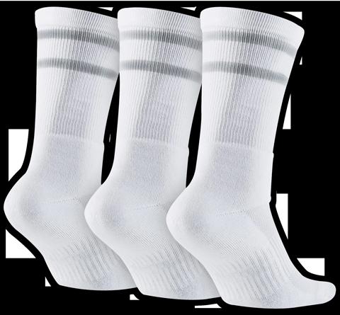 Meia Nike Sb Crew Cano Medio Branca / Cinza (3 pares)