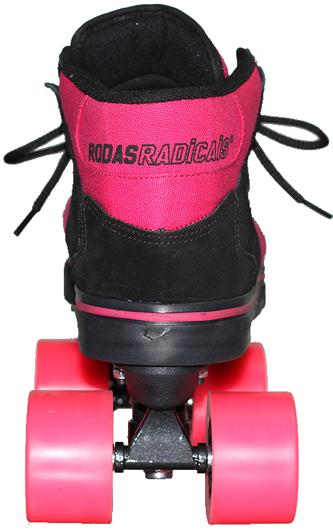 Patins Rodas Radicais Quad 60mm Abec 7 Rosa / Preto