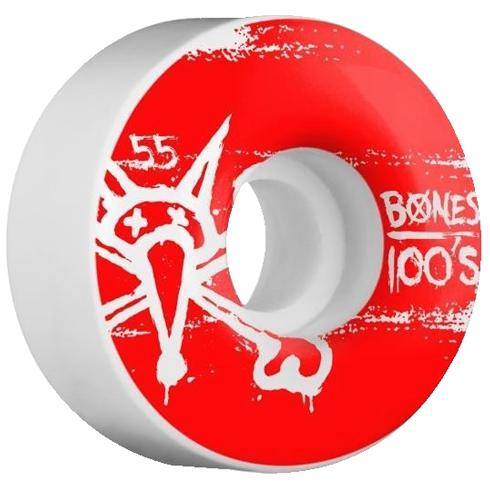 Roda Bones 100's 55mm Branca / Vermelha - 4unid.