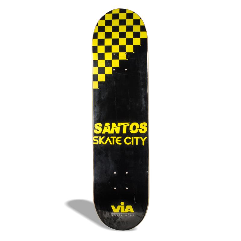 Shape de Skate Street Marfim Via Skate Shop Premium Santos Skate City Checker Amarelo