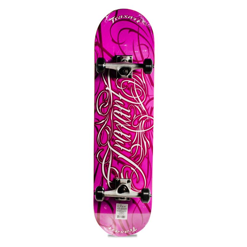 Skate Street Intermediário Completo Traxart Rosa