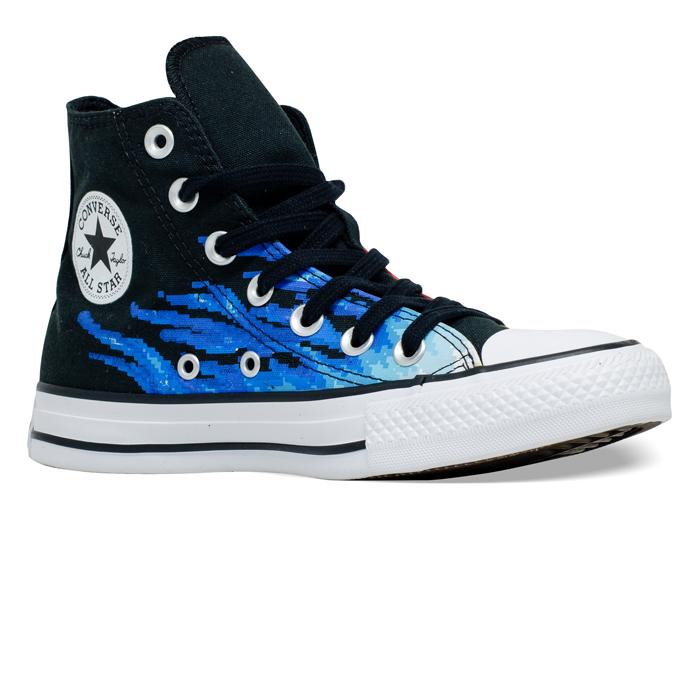 Tênis Converse Chuck Taylor All Star HI Flame Preto / Azul Celeste / Branco CT15780001