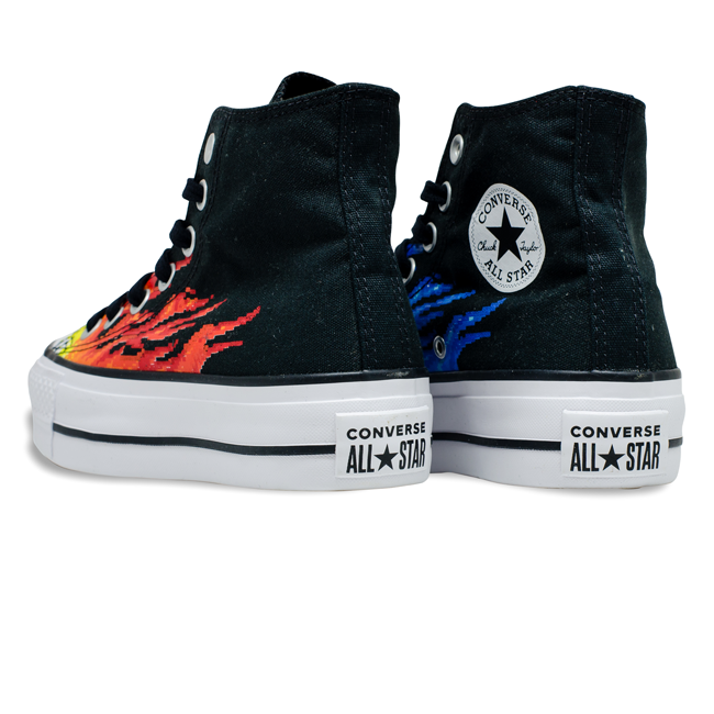 Tênis Converse Chuck Taylor All Star HI Plataforma Flame Preto / Azul Celeste / Branco CT17160001