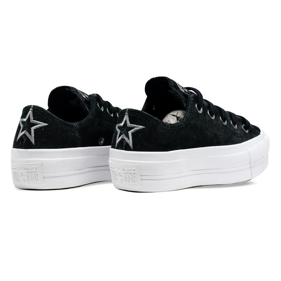 Tênis Converse Chuck Taylor All Star Ox Platform Preto/Cinza Metalizado CT13310001