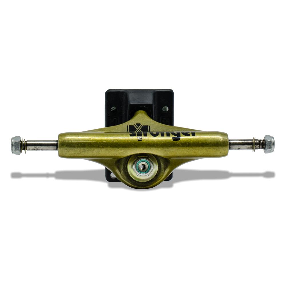 Truck para Skate Stronger 129mm Mid Dourado com Base Preta