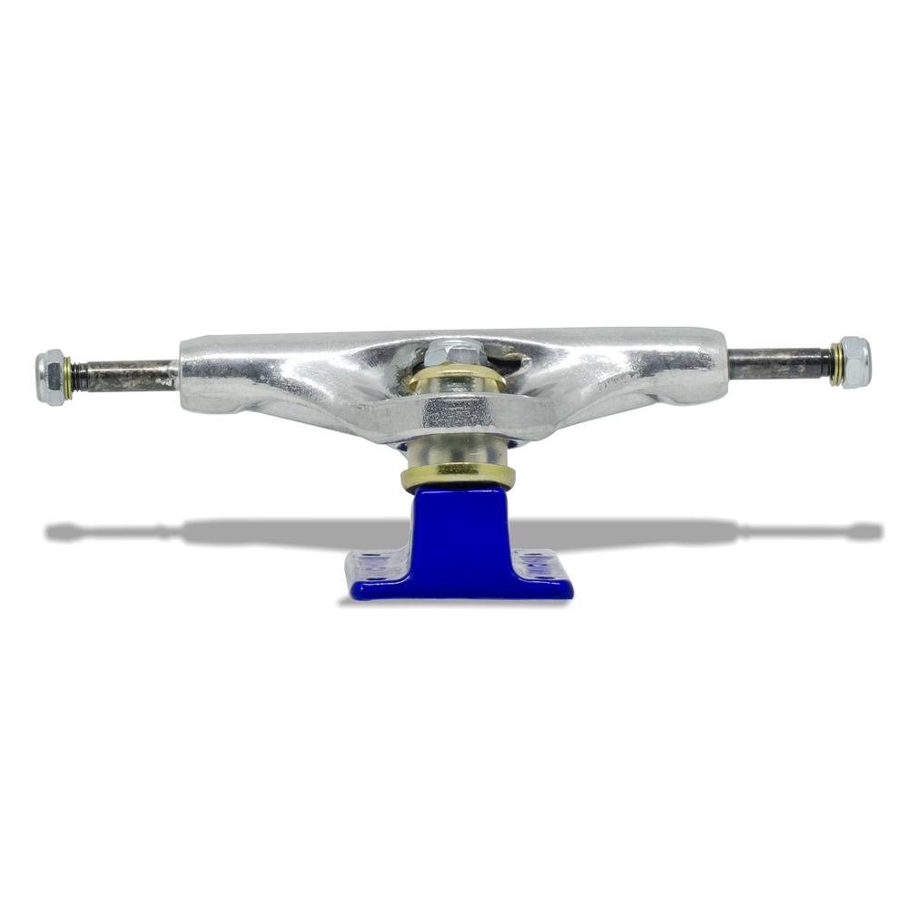 Truck para Skate Stronger 139mm Mid Prateado com Base Azul