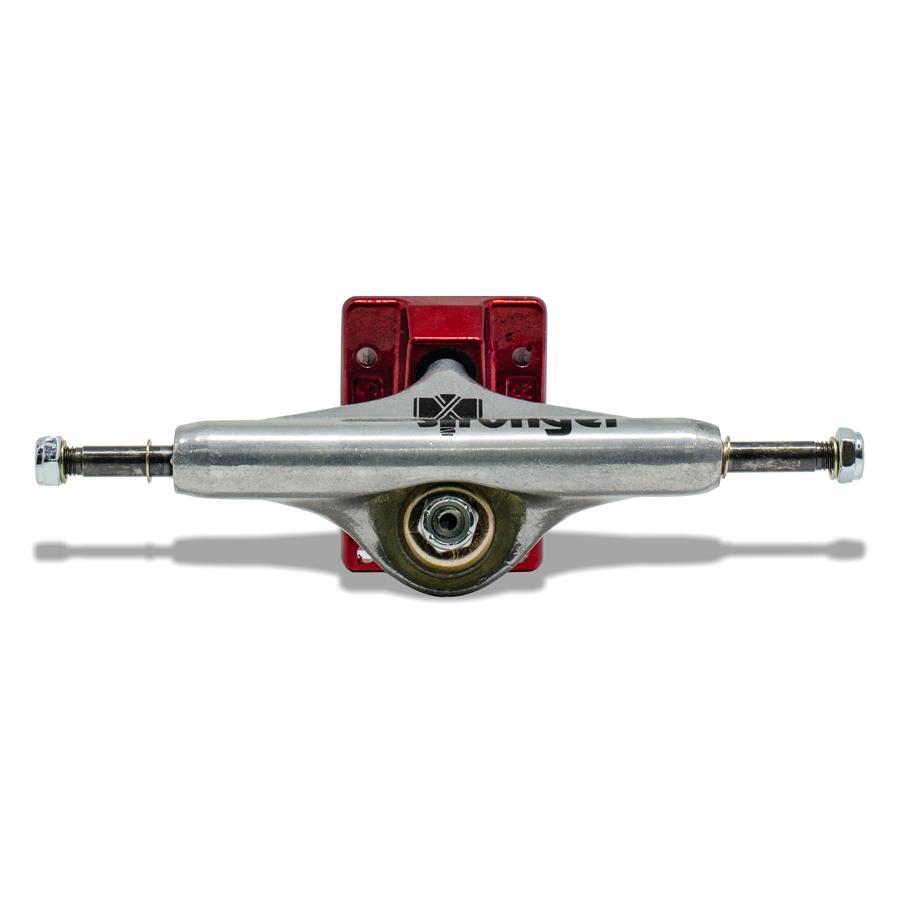 Truck para Skate Stronger 139mm Mid Prateado com Base Vermelho
