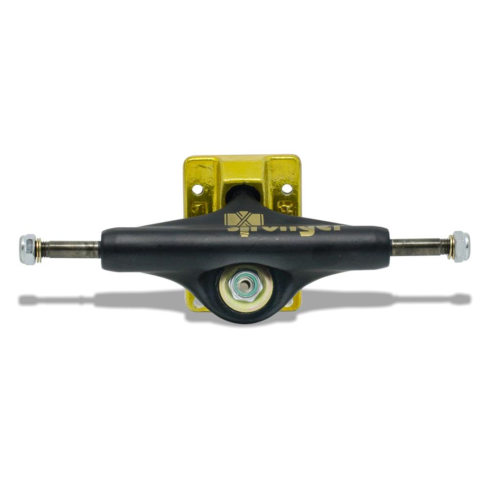 Truck para Skate Stronger 139mm Mid Preto com Base Dourada