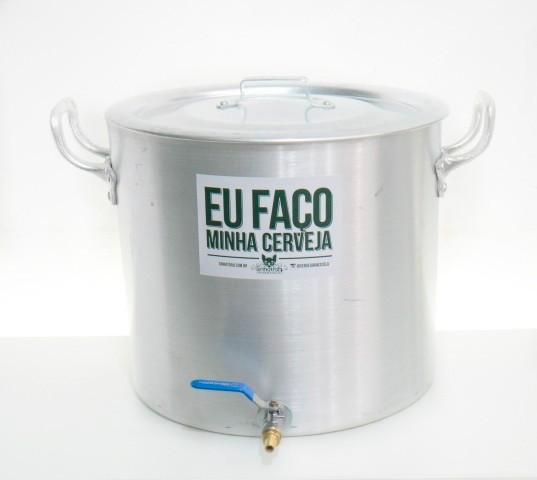 """Panela Cervejeira de Alumínio nº 36 com Válvula Extratora 3/8"""" e Fundo Falso - Volume 32L"""