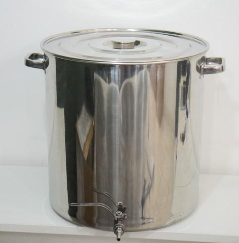 """Panela de Inox Nº 45 capacidade 65L com Válvula Extratora de 3/8""""."""