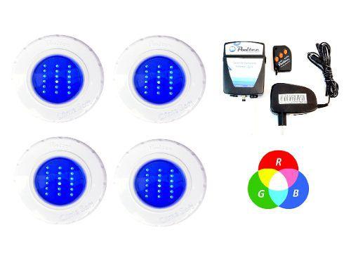 Kit Iluminação Piscina 4 Refletores Led Smd 18 Rgb + Comando