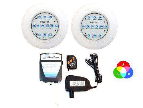 Kit Iluminação Piscina 2 Refletor Led Smd Mini Rgb + Comando