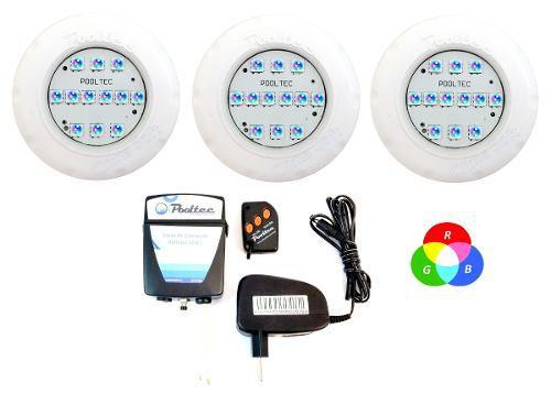 Kit Iluminação Piscina 3 Refletor Led Smd Mini Rgb + Comando