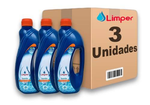 Algicida Limpa Borda Para Piscina Limper 1 Litro 3 Unidades