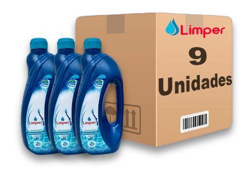 Algicida Manutenção Para Piscina Limper 1 Litro 9 Unidades
