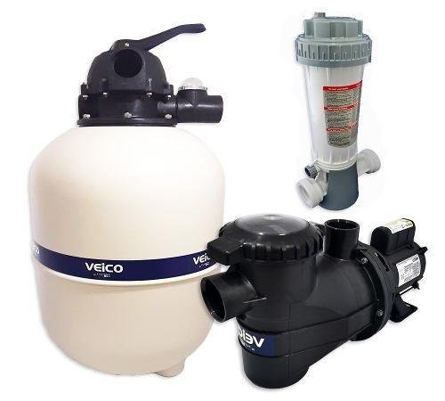 Kit Filtro  Para Piscina V30 + Bomba 1/3cv Veico + Dosador De Cloro