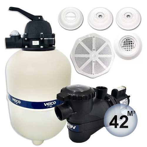 Kit Completo Para Piscina Filtro V-40  Bomba 1/2 Cv Veico  Até 42 Mil Litros + Dispositivos