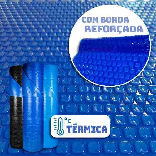 Capa Térmica Para Piscina 6,5 X 3,5m Bolha Quadrada Borda Com Reforço