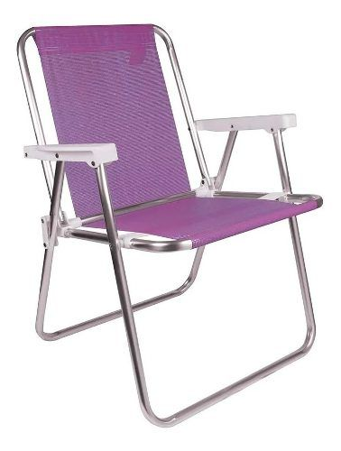 Cadeira Para Praia Piscina Dobrável Em Alumínio Mor Lilas