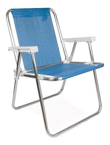 Cadeira Para Praia Piscina Dobrável Em Alumínio Mor Azul