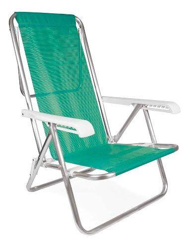 Cadeira Praia E Piscina Reclinável Alumínio Mor 8 Posições Anis