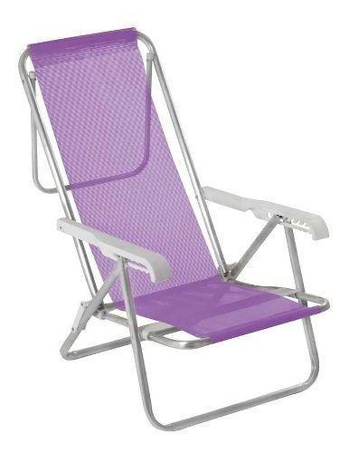 Cadeira Praia E Piscina Alumínio Mor 8 Posições Reclinável Lilas