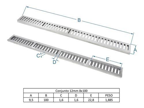 Ralo Linear 8 x 100 cm Em Alumínio Escovado Grelha Caixilho GDA