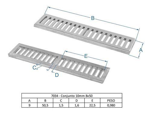 Ralo Linear 8 x 50 Cm Bege Em Alumínio Para Piscina Grelha Aro Caixilho GDA