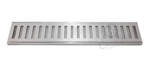 Grelha Aro Ralo Linear Em Alumínio Escovado 8 x 50cm Caixilho GDA