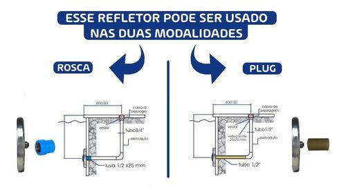 Kit 2 Refletor Led 6w Para Piscina Em Aço Inox + Comando Controlador