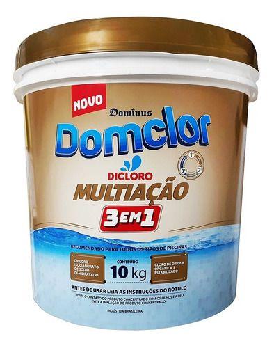 Balde De Cloro Granulado Domclor 10 Kg Para Limpeza De Piscina 3 Em 1