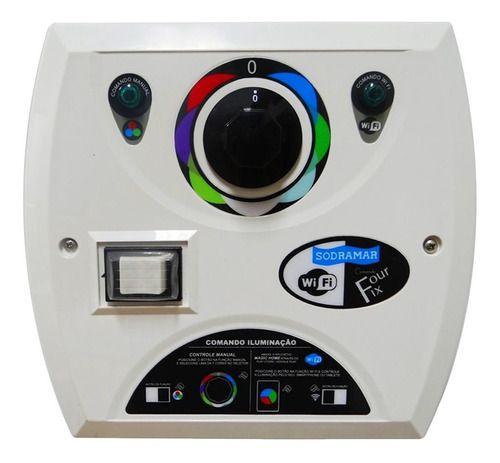 Kit 4 Led Refletor Piscina Cob Abs Colorido + Comando Four Fix Wifi