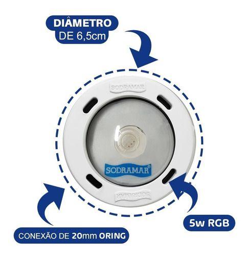 Kit Iluminação Piscina 6 Led Cob Abs + Comando Four fix Wifi Sodramar