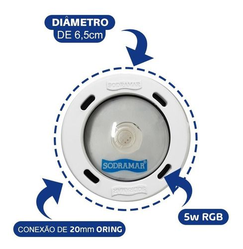 Kit Refletor Piscina 8 Led Cob Abs Colorido + Comando For Fix Wifi