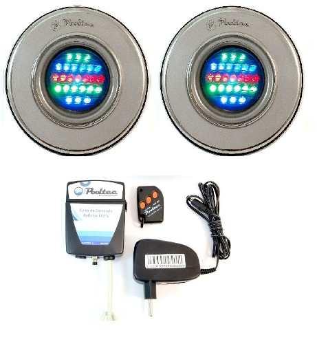Kit Iluminação Piscina 2 Refletores Led 25 Colorido + Comando com Controle Remoto