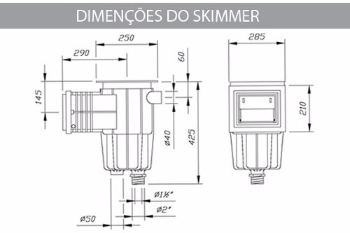 Skimmer Boca Pequena Sodramar Para Piscina de Alvenaria, Fibra e Vinil