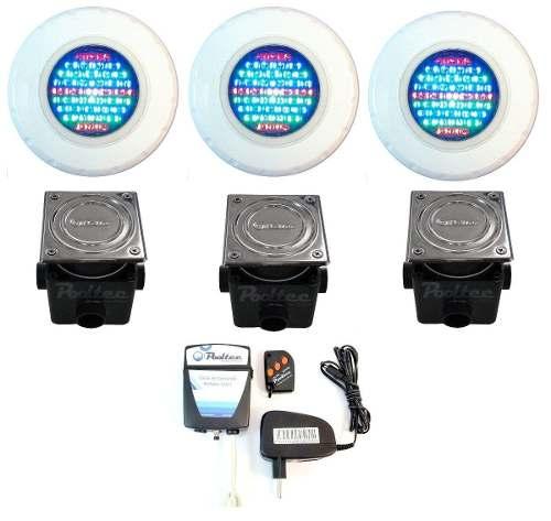 Kit Iluminação para Piscina 3 Led 65 ABS RGB Colorido + Comando e Controle Remoto + Caixa de Passagem - Até 27 m²