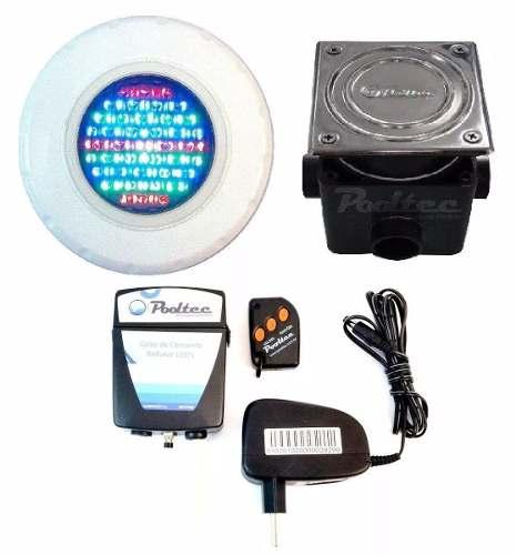 Kit Iluminação para Piscina 1 Led 65 ABS RGB Colorido + Comando e Controle Remoto + Caixa de Passagem - Até 9 m²