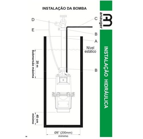 Bomba D´agua Submersa Vibratória Anauger 800 1970/hora 380w 110V