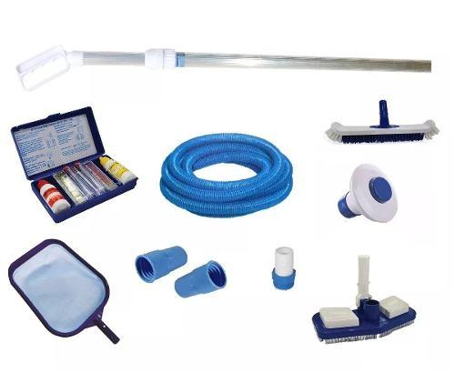 Kit para Limpeza de Piscina com 5m De Mangueira Teste Cl Ph + Cabo 2m