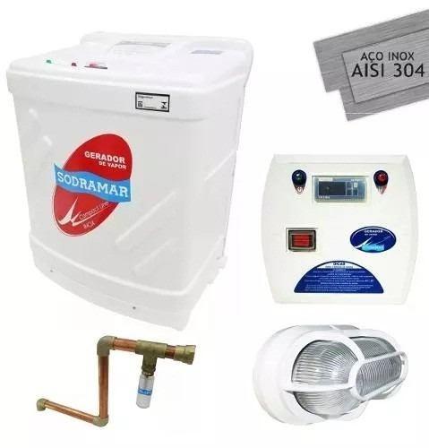Gerador Vapor Sauna Sodramar 12 Kw + Quadro Digital + Kit Instalação e Luminária