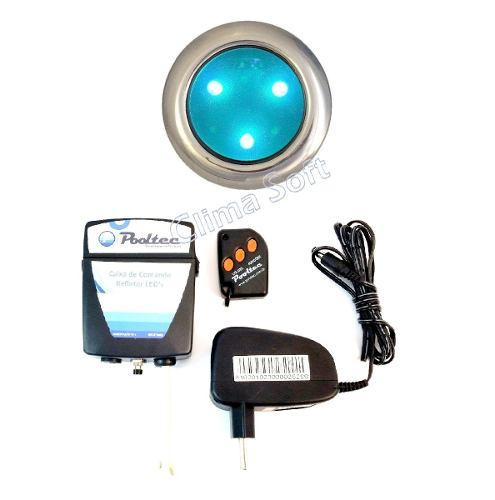 Kit Iluminação Piscina 1 Refletor Super Led 3 Mini Inox + Comando e Controle Remoto