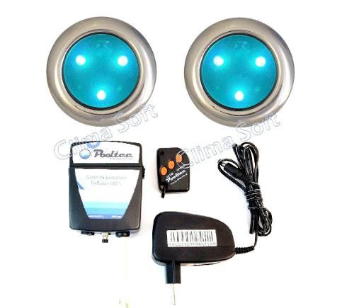 Kit Iluminação Piscina 2 Refletores Super Led 3 Mini Inox + Comando e Controle Remoto